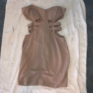 Tan Cocktail Cutout Dress